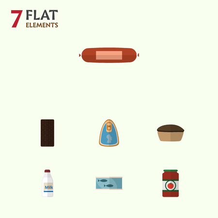 hermetic: Flat Icon Meal Set Of Canned Chicken, Kielbasa, Confection And Other Vector Objects. Also Includes Bar, Sausage, Tuna Elements.