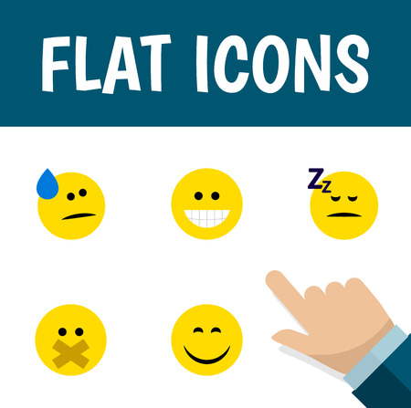 Flat Icon Emoji Set Of Smile, Hush, Grin And Other Vector Objects. Also Includes Asleep, Sleeping, Grin Elements. Illustration