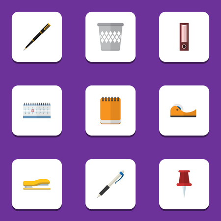 sellotape: Flat Icon Stationery Set Of Trashcan, Pushpin, Nib Pen And Other Vector Objects. Also Includes Notepad, Calendar, Notepaper Elements.