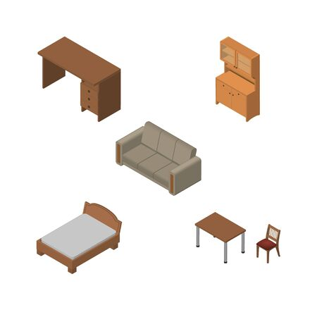 Isometric Furnishing Set Of Table, Cupboard, Bedstead And Other Vector Objects. Also Includes Furniture, Wardrobe, Couch Elements. Illustration