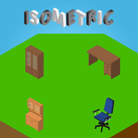 arredamento classico: Set di progettazione isometrica di tavola, gabinetto, ufficio e altri oggetti vettoriali. Vettoriali