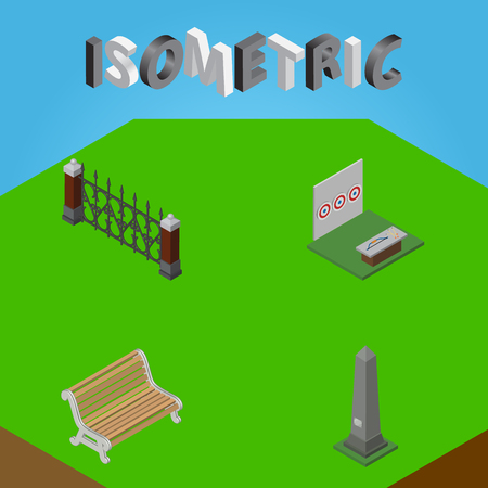 Isometric Urban Set Of Seat, Dc Memorial, Aiming Game And Other Vector Objects. Illustration