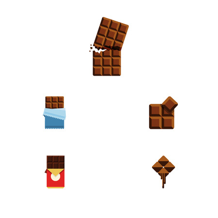 calorie: Flat Icon Chocolate Set Of Bitter, Chocolate Bar, Cocoa And Other Vector Objects. Also Includes Box, Cocoa, Bitter Elements.