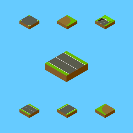 unilateral: Isometric Way Set Of Crossroad, Rotation, Unilateral And Other Vector Objects. Also Includes Underground, Plane, Strip Elements.