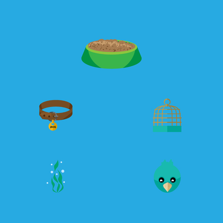 Flat Icon Pets Set Of Hound Necklace, Rabbit Meal, Seaweed And Other Vector Objects. Also Includes Food, Bird, Puppy Elements. Illustration