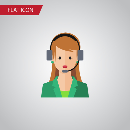 Isolated Hotline Flat Icon. Secretary Vector Element Can Be Used For Secretary, Hotline, Human Design Concept.