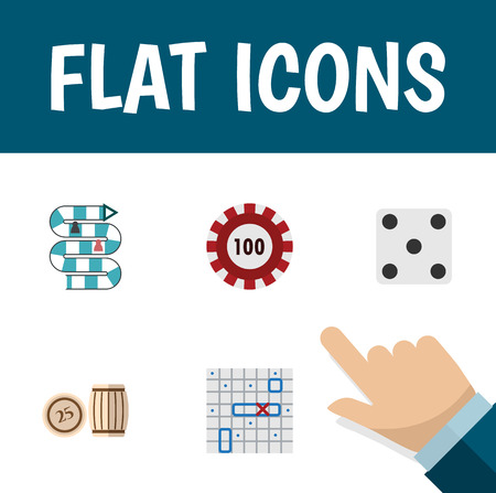 Flat Icon Play Set Of Sea Fight, Multiplayer, Poker And Other Vector Objects. Also Includes Dice, Chip, Casino Elements. Illustration