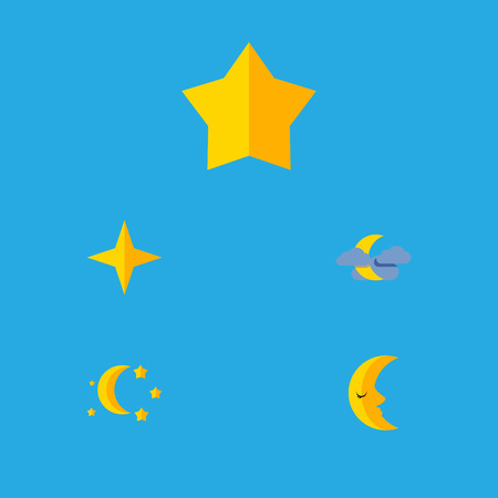 Flat Icon Midnight Set Of Moon, Starlet, Bedtime And Other Vector Objects. Also Includes Moon, Cloud, Twilight Elements.