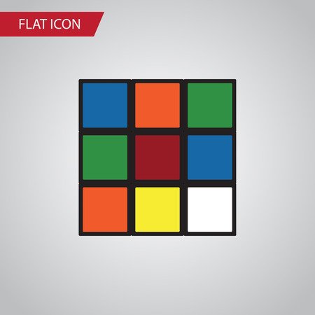Isolated Rubik Flat Icon. Cube Vector Element Can Be Used For Cube, Rubik, Square Design Concept.