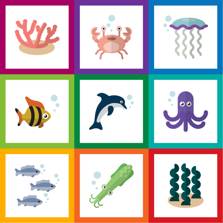 Flat Icon Sea Set Of Medusa, Tentacle, Playful Fish And Other Vector Objects. Also Includes Alga, Cancer, Tuna Elements.