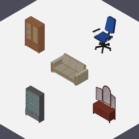 Isometric Furnishing Set Of Sideboard, Office, Drawer And Other Vector Objects. Also Includes Sideboard, Cupboard, Cabinet Elements. Ilustração