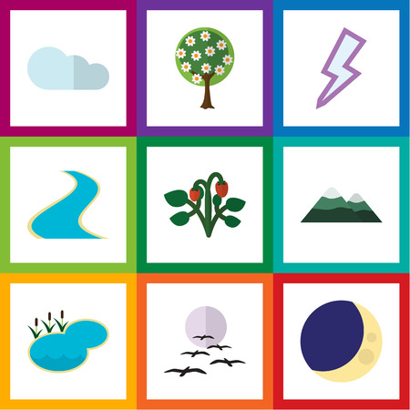 Flat Icon Ecology Set Of Peak, Tributary, Lightning And Other Vector Objects. Also Includes Bird, Pinnacle, Berry Elements. Illustration
