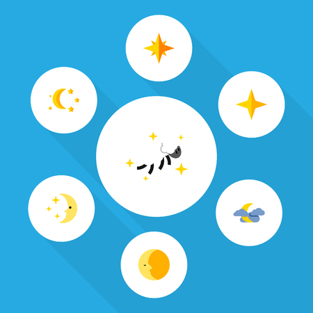 Flat Icon Night Set Of Bedtime, Star, Asterisk And Other Vector Objects. Also Includes Lunar, Midnight, Twilight Elements. Illustration