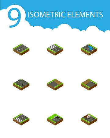 the roadside: Isometric Road Set Of Strip, Footpassenger, Plash And Other Vector Objects. Also Includes Underground, Footer, Pedestrian Elements.