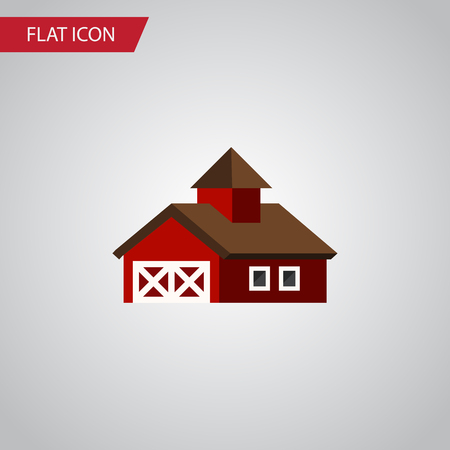 farmstead: Isolated Ranch Flat Icon. Shed Vector Element Can Be Used For Ranch, Shed, Barn Design Concept.