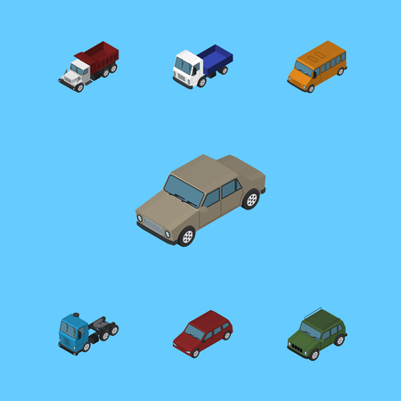 Isometric Car Set Of Autobus, Truck, Armored And Other Vector Objects. Also Includes Drive, Lorry, Armored Elements.