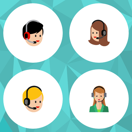 narrator: Flat Icon Telemarketing Set Of Service, Call Center, Operator And Other Vector Objects. Also Includes Operator, Human, Service Elements.