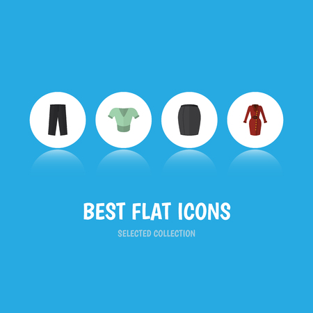 Flat Icon Clothes Set Of Pants, Casual, Clothes And Other Vector Objects. Also Includes Clothes, Apparel, Skirt Elements.