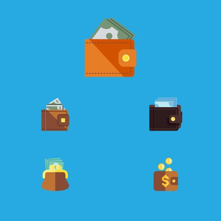 billfold: Flat Icon Billfold Set Of Wallet, Finance, Payment And Other Vector Objects. Also Includes Cash, Pouch, Wallet Elements.