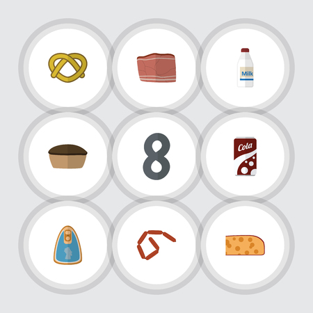 Flat Icon Eating Set Of Fizzy Drink, Cookie, Bratwurst And Other Vector Objects. Also Includes Drink, Biscuit, Food Elements. Illustration