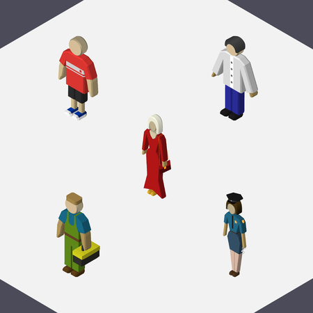 Isometric Person Set Of Male, Guy, Female And Other Vector Objects. Also Includes Woman, Male, Policewoman Elements. Illustration