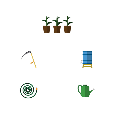 moisture: Flat Icon Farm Set Of Hosepipe, Flowerpot, Bailer And Other Vector Objects. Also Includes Scythe, Can Bailer, Container Elements.