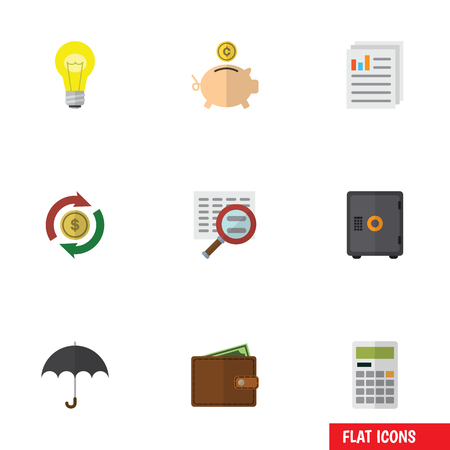 billfold: Flat Icon Finance Set Of Document, Bubl, Interchange And Other Vector Objects. Also Includes Billfold, Calculator, File Elements.