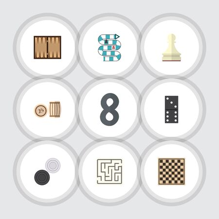 backgammon: Flat Icon Entertainment Set Of Labyrinth, Bones Game, Pawn And Other Vector Objects. Also Includes Maze, Multiplayer, Games Elements. Illustration