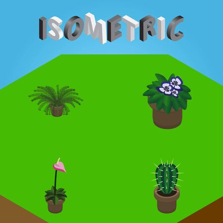 Isometric Flower Set Of Flowerpot, Peyote, Grower And Other Vector Objects. Also Includes Plant, Flowerpot, Flower Elements.