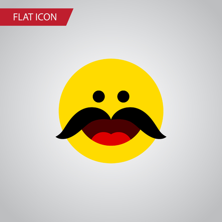 Isolated Whiskers Flat Icon. Cheerful Vector Element Can Be Used For Cheerful, Whiskers, Emoji Design Concept. Çizim