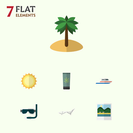 beach sunset: Flat Icon Summer Set Of Boat, Reminders, Sunshine And Other Vector Objects. Also Includes Yacht, Foto, Moisturizer Elements.