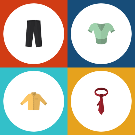Flat Icon Garment Set Of Cravat Banyan Casual And Other Vector