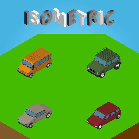 Isometric Automobile Set Of Armored, Auto, Autobus And Other Vector Objects. Also Includes Car, Auto, Armored Elements. Illustration