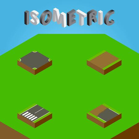 Isometric Road Set Of Footpath, Incomplete, Crossroad And Other Vector Objects. Also Includes Highway, Road, Crossroad Elements.