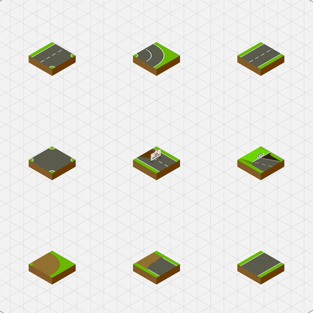 unilateral: Isometric Way Set Of Incomplete, Driveway, Rotation And Other Vector Objects. Also Includes Road, Lane, Crossroad Elements. Illustration