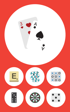 Flat Icon Entertainment Set Of Backgammon, Multiplayer, Bones Game And Other Vector Objects. Also Includes Tic, Toe, Domino Elements.