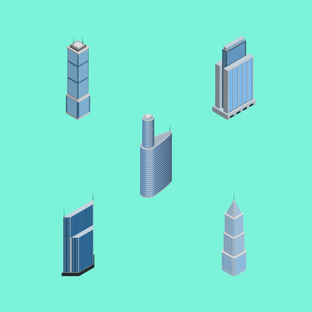 Isometric Construction Set Of Residential, Building, Urban And Other Vector Objects. Also Includes Exterior, Tower, Skyscraper Elements. Illustration