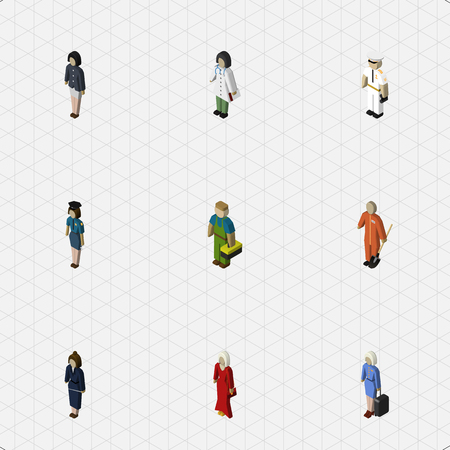 femme policier: Isometric People Set Of Cleaner, Female, Policewoman And Other Vector Objects. Also Includes Worker, Medic, Officer Elements. Illustration