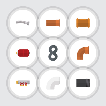 Flat Icon Sanitary Set Of Plastic, Iron, Corrugated Pipe And Other Vector Objects. Also Includes Pipework, Tank, Container Elements. Illustration