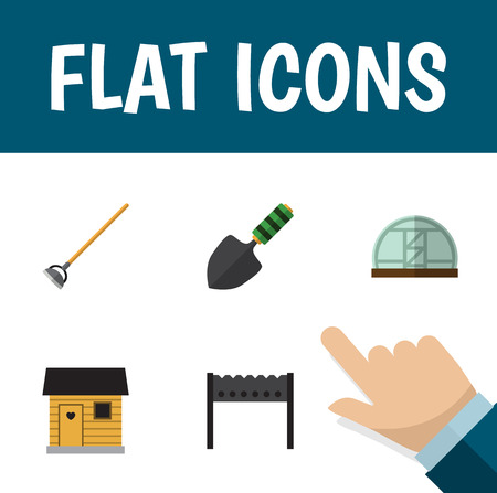 wood burner: Flat Icon Farm Set Of Barbecue, Stabling, Hothouse And Other Vector Objects. Also Includes Stabling, Greenhouse, Gardening Elements. Illustration
