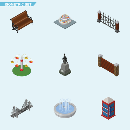 english culture: Isometric Urban Set Of Swing Attraction, Sculpture, Park Decoration And Other Vector Objects. Also Includes Bridge, Park, Hedge Elements.