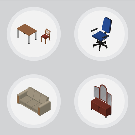 Isometric Design Set Of Couch, Chair, Office And Other Vector Objects. Also Includes Settee, Furniture, Sideboard Elements.