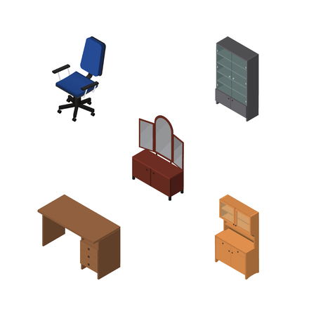 Isometric Furniture Set Of Drawer, Table, Sideboard And Other Vector Objects. Also Includes Cabinet, Closet, Armchair Elements.