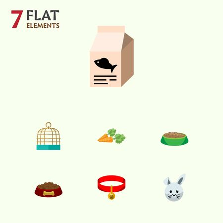 Flat Icon Animal Set Of Bunny, Fish Nutrient, Kitty Collar And Other Vector Objects. Also Includes Cage, Hound, Hare Elements. Illustration
