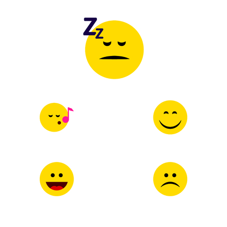 quandary: Flat Icon Emoji Set Of Sad, Smile, Asleep And Other Vector Objects. Also Includes Laugh, Sleeping, Asleep Elements. Illustration