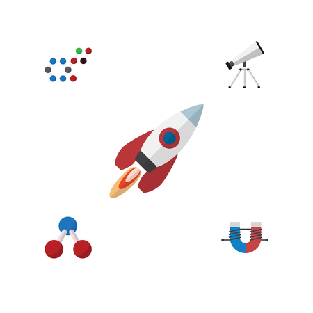 Flat Icon Knowledge Set Of Molecule, Attractive Force, Spaceship And Other Vector Objects. Also Includes Scope, Water, Magnet Elements.