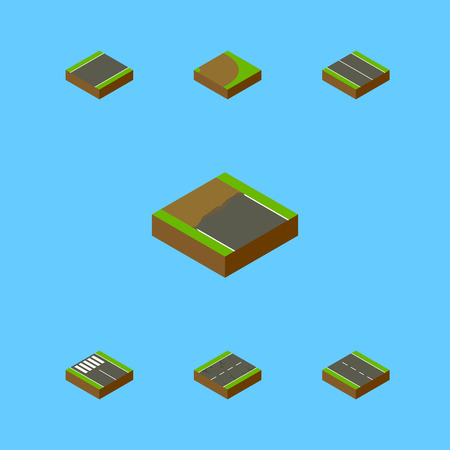 the roadside: Isometric Way Set Of Cracks, Incomplete, Flat And Other Vector Objects. Also Includes Driveway, Cracks, Unilateral Elements.