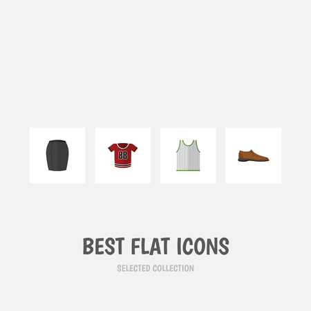 Flat Icon Clothes Set Of Male Footware, Singlet, Stylish Apparel And Other Vector Objects. Also Includes Shirt, Blouse, Man Elements. Illustration