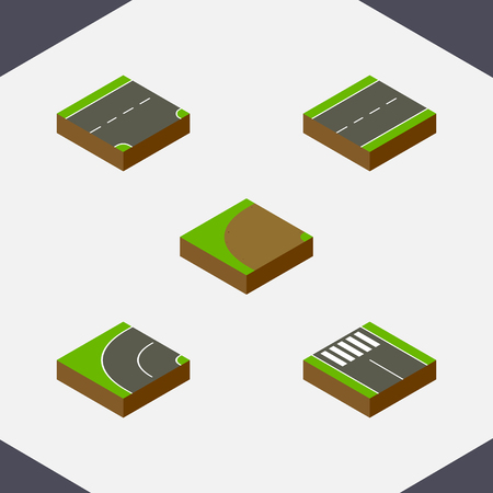 the roadside: Isometric Way Set Of Strip, Turning, Down And Other Vector Objects. Also Includes Driveway, Pedestrian, Bitumen Elements. Illustration