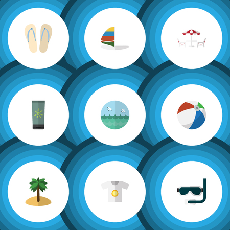 moisturizer: Flat Icon Beach Set Of Moisturizer, Coconut, Ocean And Other Vector Objects. Also Includes Bird, Aqualung, Sphere Elements.